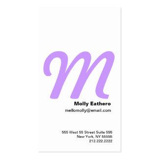 M Letter Alphabet Business Card Purple