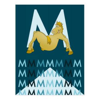 M Letter  Dark blue card Flexible pony bunting. Postcard