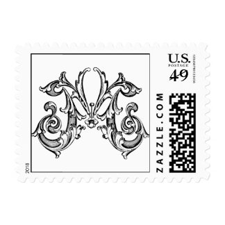 M letter ~  Monogram  Small Stamp