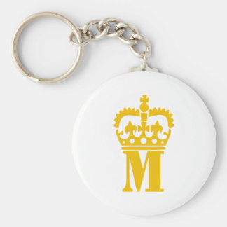 M - Letter - Name Basic Round Button Keychain