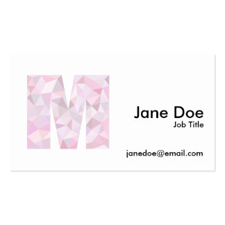 M - Low Poly Triangles - Neutral Pink Purple Gray Business Card