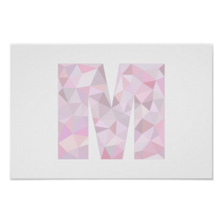 M - Low Poly Triangles - Neutral Pink Purple Gray Poster