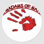 M M Handprint Pegatina Redonda