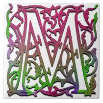 """M Monogram """"Besque Garden"""" Ceramic Tile"""