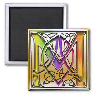 """M Monogram """"Celtic Rainbow"""" Square Magnet"""