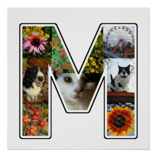 M Monogram Create Your Own 9 Custom Photo Collage Poster