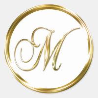 M Monogram Faux Gold Envelope Or Favor Seal