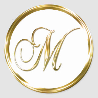 M Monogram Faux Gold Envelope Or Favor Seal Classic Round Sticker