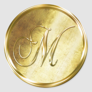 M Monogram Faux Gold Envelope Seal Stickers