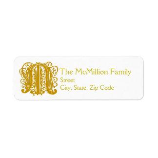 """M Monogram """"Gold Lace"""" design Address Lables Label"""