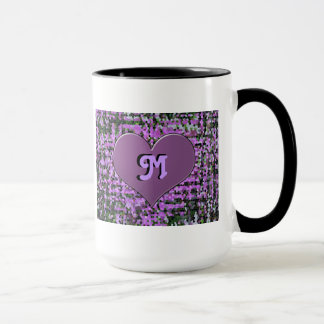 'M' monogram, heart with stained glass background Mug