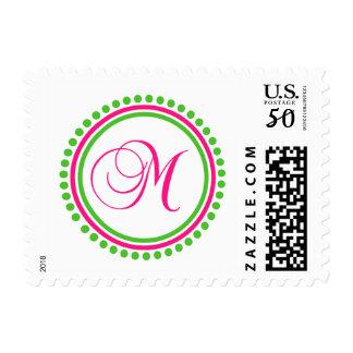M Monogram (Hot Pink / Lime Green Dot Circle) Postage