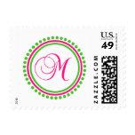 M Monogram (Hot Pink / Lime Green Dot Circle) Stamps