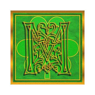 """M Monogram Irish Gold Clover design 8""""x8"""" Canvas"""
