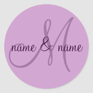 M monogram label - personalize  first names classic round sticker