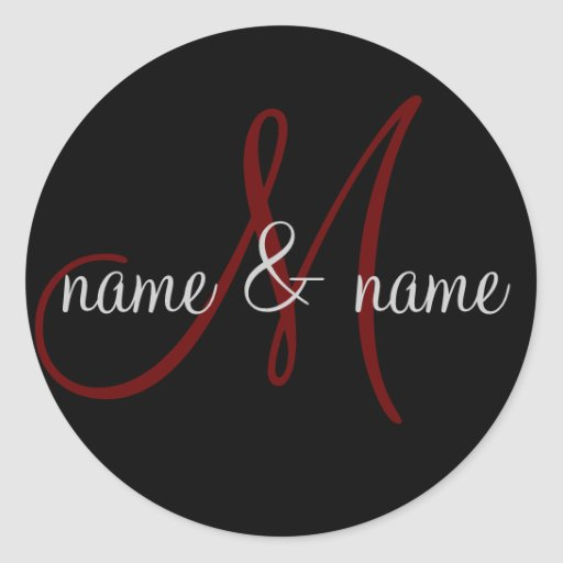 """""""M"""" monogram label, personalize first names Classic Round Sticker"""