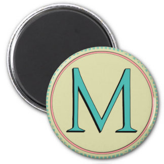 M MONOGRAM LETTER 2 INCH ROUND MAGNET