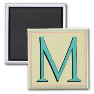 M MONOGRAM LETTER 2 INCH SQUARE MAGNET