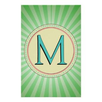 M MONOGRAM LETTER STATIONERY