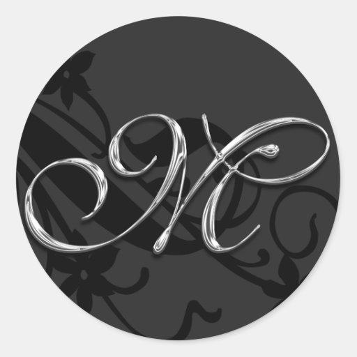 M Monogram Letter Wedding Envelope Seal Sticker