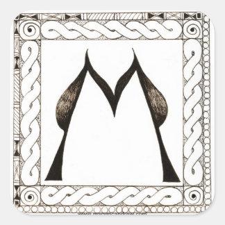 M monogram letter with Celtic Border Square Sticker