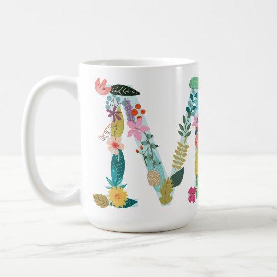 m monogram mug floral m initial botanical coffee mug zazzle com