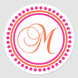 M Monogram (Pink / Orange Dot Circle) Classic Round Sticker