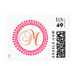 M Monogram (Pink / Orange Dot Circle) Postage Stamp