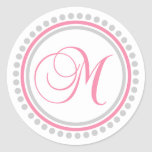 M Monogram (Pink / Silver Dot Circle) Classic Round Sticker