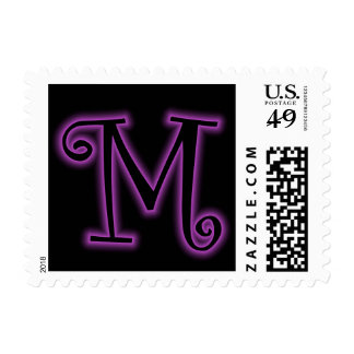 M Monogram Purple Neon Postage