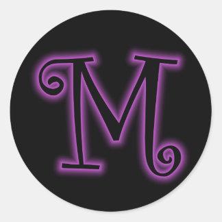 M Monogram Purple Neon Sticker