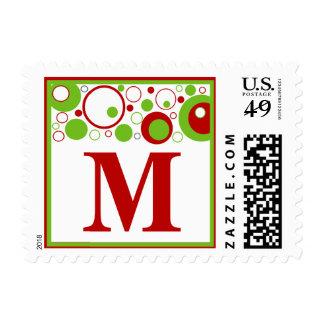 M Monogram (Red / Green Multiple Circles) Postage Stamp