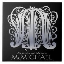 "M Monogram ""Silver Lace on Black"" Ceramic Tile"