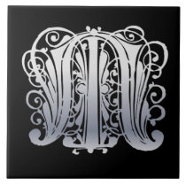 M Monogram Silver Lace on Black Ceramic Tile
