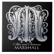 """M Monogram """"Silver Lace on Black"""" with Names Tile"""