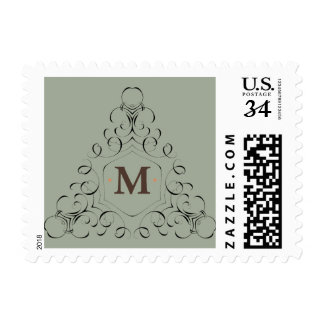 "M Monogram Small, 1.8"" x 1.3"", $0.35 (Post Card) Postage Stamp"