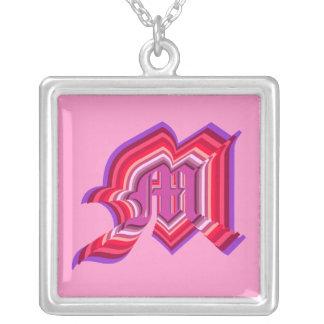 M monogram square pendant necklace