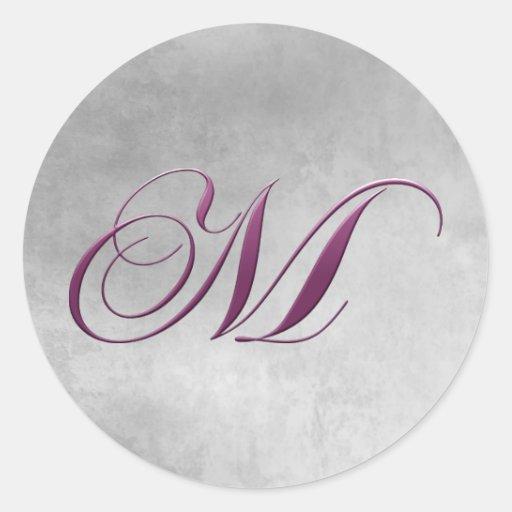 M Monogram Sticker Purple and Grunge