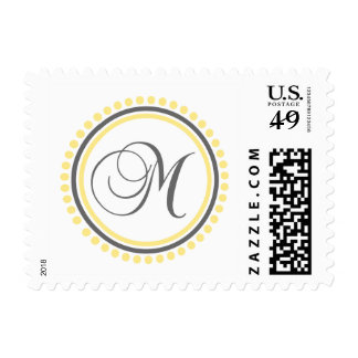 M Monogram (Yellow / Gray Dot Circle) Postage