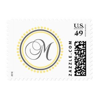 M Monogram Yellow Gray Dot Circle Stamp