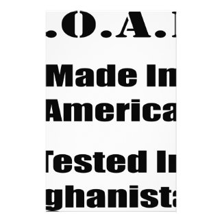 M.O.A.B. Made In America Tested In Afghanistan Blk Stationery