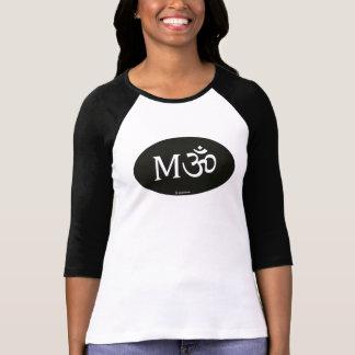 M-OM, yoga mom, black oval on raglan Shirt