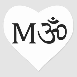 M-OM, Yoga Mom, heart sticker: I Love Mom Heart Sticker