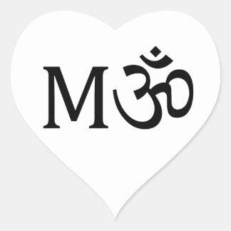 M-OM, Yoga Mom, heart sticker: I Love Mom Heart Sticker