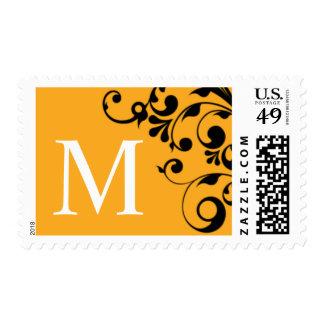 M Orange Color Theme Monogram Wedding Postage