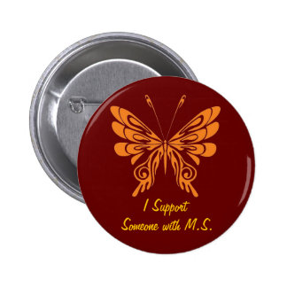 M.S. Mariposa Pin Redondo De 2 Pulgadas