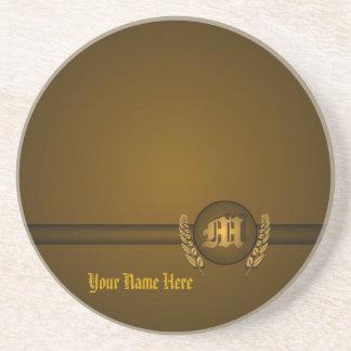 M - Superb Customizable Monogram Sandstone Coaster