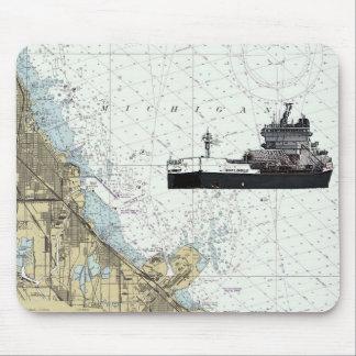 M/V Adam E. Cornelius and Indiana Harbor Chart Mouse Pad