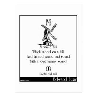 M was a mill postcard