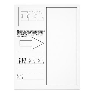 """""""M"""" work sheet coloring book page Letterhead"""